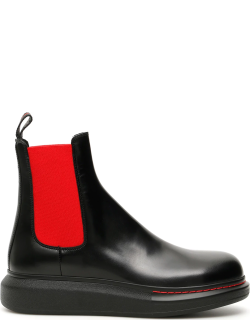 ALEXANDER MCQUEEN CHELSEA BOOTS 39 Black, Red Leather