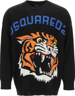 DSQUARED2 TIGER KNIT SWEATER S Black Wool, Cashmere