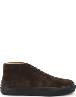 TOD'S SUEDE LACED ANKLE BOOTS 6 Brown Leather
