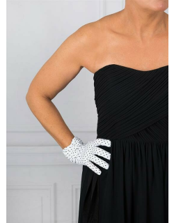 Dents Women's Spotted Cotton Gloves In White/ Black