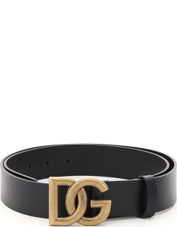 DOLCE & GABBANA LUX LEATHER BELT WITH CROSSED DG LOGO 90 Black Leather
