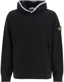 STONE ISLAND SWEATSHIRT WITH HOODIE AND BUTTONS L Black Cotton