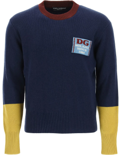 DOLCE & GABBANA WOOL SWEATER WITH LOGO PATCH 46 Blue, Yellow, Red Wool