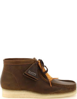 CLARKS WALLABEE LEATHER LACE-UP BOOTS 6,5 Brown Leather
