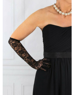 Dents Women's Long Floral Lace Gloves In Black