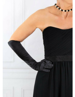 Dents Women's Long Satin Gloves With Buttons In Black