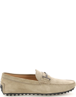 TOD'S SINGLE T SUEDE LEATHER LOAFERS 5 Grey Leather