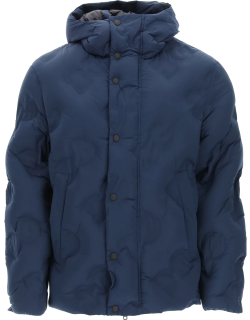 DOLCE & GABBANA QUILTED DOWN JACKET WITH EMBOSSED LOGO 46 Blue Technical