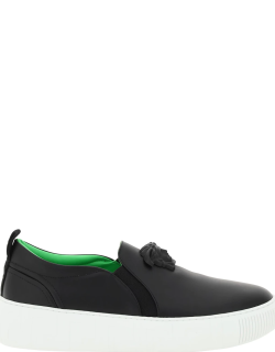 VERSACE SLIP ON SNEAKERS WITH MEDUSA HEAD AND GREEK OUTSOLE 39 Black Leather