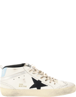 GOLDEN GOOSE MID STAR SNEAKERS 40 White, Silver, Blue Leather