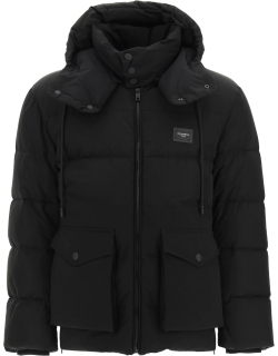 DOLCE & GABBANA QUILTED DOWN JACKET WITH HOOD 46 Black Cotton, Technical