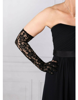 Dents Women's Long Lace Evening Gloves In Black