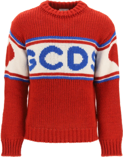 GCDS LOGO SWEATER S White, Blue, Red Wool, Technical