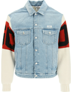 GCDS DENIM JACKET WITH WOOL SLEEVES S Blue, Red, White Cotton, Wool
