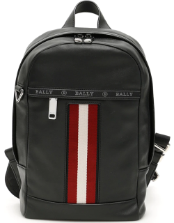 BALLY TRAINSPOTTING HARI LEATHER BACKPACK OS Black, White, Red Leather