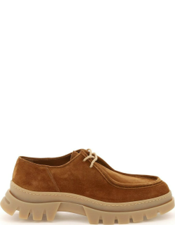 HENDERSON SUEDE LEATHER LACE-UP SHOES 40 Beige Leather