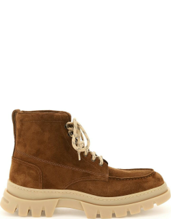 HENDERSON SUEDE LEATHER LACE-UP BOOTS 41 Brown Leather