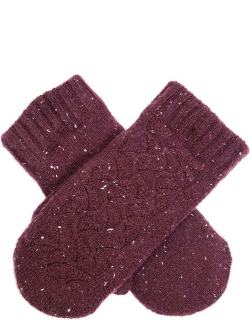 Dents Women's Lace Knit Mittens In Plum