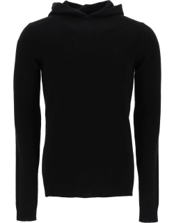 RICK OWENS CASHMERE HOODED SWEATER L Black Cashmere