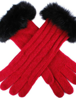 Dents Women's Cable Knit Gloves With Fur Cuffs In Berry/black