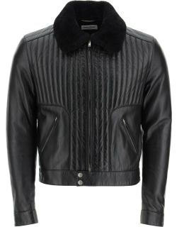SAINT LAURENT QUILTED LEATHER JACKET WITH SHEARLING COLLAR 48 Black Leather, Fur