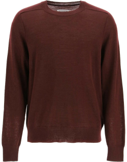 MAISON MARGIELA CREW NECK SWEATER WITH ELBOW PATCHES S Red Wool