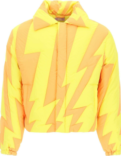 ERL TWO-TONE CROPPED DOWN JACKET M Yellow, Orange Technical