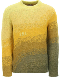 ERL BOWY SWEATER S Yellow, Green, Brown Wool