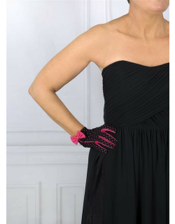 Dents Women's Spotted Cotton Gloves In Black/pink