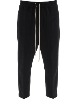 RICK OWENS ASTAIRES CROPPED TROUSERS 48 Black Cotton, Wool