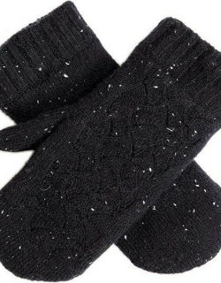 Dents Women's Lace Knit Mittens In Black