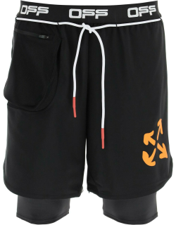 OFF-WHITE DOUBLE LAYER ACTIVE SHORTS S Black Technical