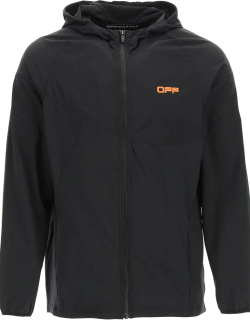 OFF-WHITE ACTIVE HOODIE WITH ZIP M Black Technical