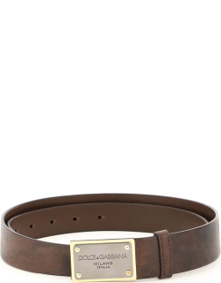 DOLCE & GABBANA EOS CALF LEATHER BELT WITH LOGO PLAQUE 85 Brown Leather