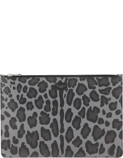 DOLCE & GABBANA LEOPARD DAUPHINE POUCH OS Grey, Black Leather