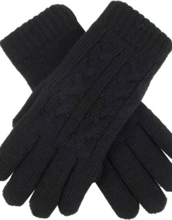 Dents Women's Cable Knit Gloves In Black