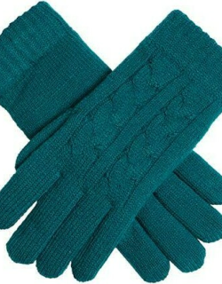 Dents Women's Cable Knit Gloves In Petrol