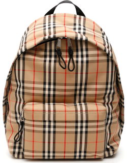 BURBERRY VINTAGE CHECK JETT BACKPACK OS Beige, Black, Red Leather, Cotton