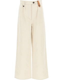LOEWE WIDE TROUSERS WITH LEATHER LOOPS 34 Beige Cotton, Linen