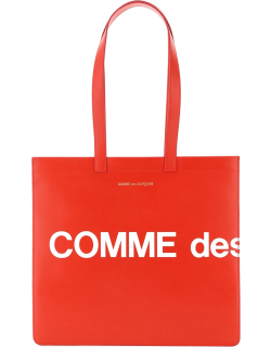 COMME DES GARCONS WALLET LEATHER TOTE BAG WITH LOGO OS Red, White Leather