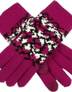 Dents Women's Reptile Pattern Touchscreen Knitted Gloves In Hot Pink
