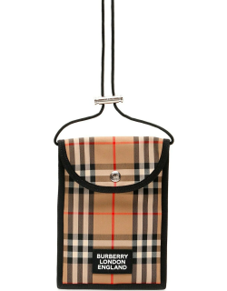 BURBERRY VINTAGE CHECK MICRO BAG OS Beige Leather, Cotton