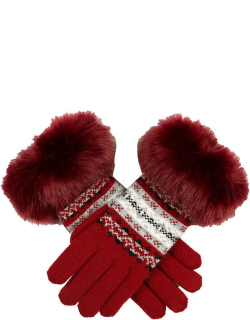 Dents Women's Fair Isle Knitted Gloves With Faux Fur Cuffs In Berry