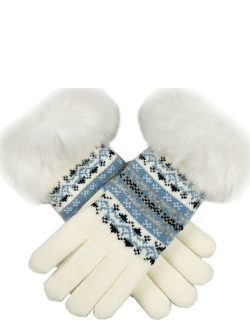 Dents Women's Fair Isle Knitted Gloves With Faux Fur Cuffs In Winter White