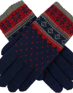 Dents Women's Snowflake Pattern Touchscreen Knitted Gloves In Navy