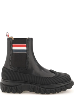 THOM BROWNE LONGWING DUCK CHELSEA BOOTS 6 Black Leather