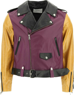 YOUTHS IN BALACLAVA LEATHER JACKET WITH CHAIN FRINGES M Purple, Yellow, Black Leather
