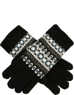 Dents Women's Striped Fair Isle Knitted Gloves In Black