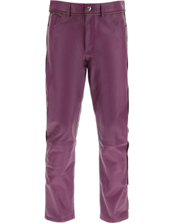 YOUTHS IN BALACLAVA LEATHER TROUSERS WITH ZIP S Purple Leather