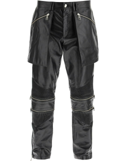 YOUTHS IN BALACLAVA CONVERTIBLE LEATHER BIKER TROUSERS S Black Leather